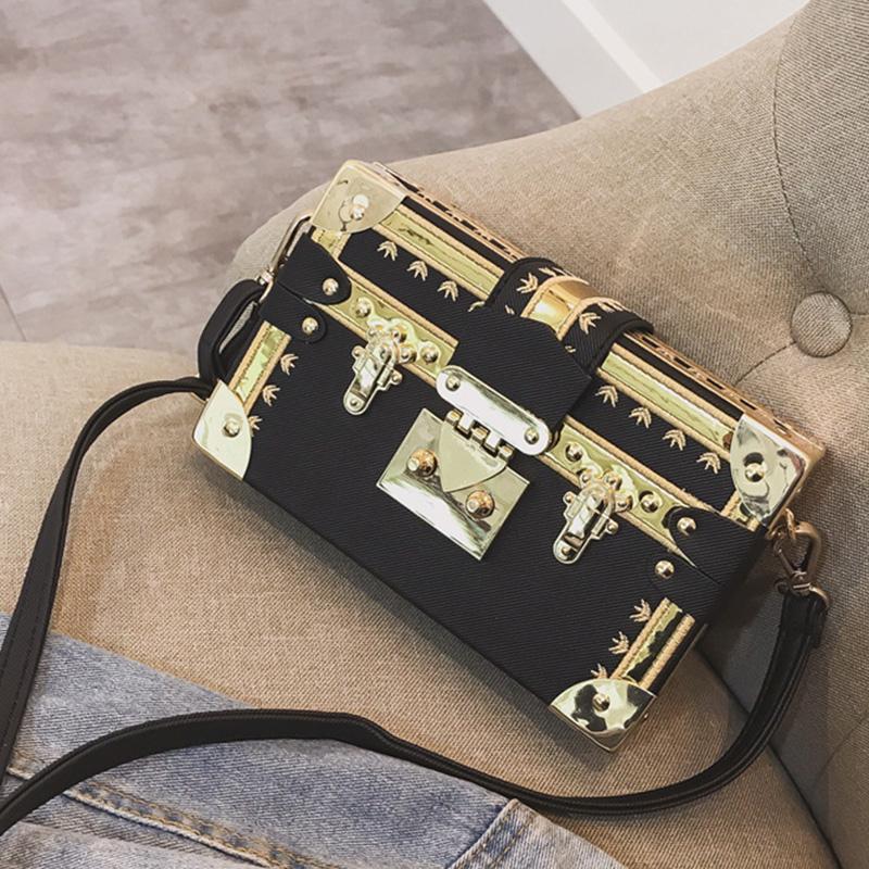 Lovely Euramerican Box Shape Black Patent Leather Messenger