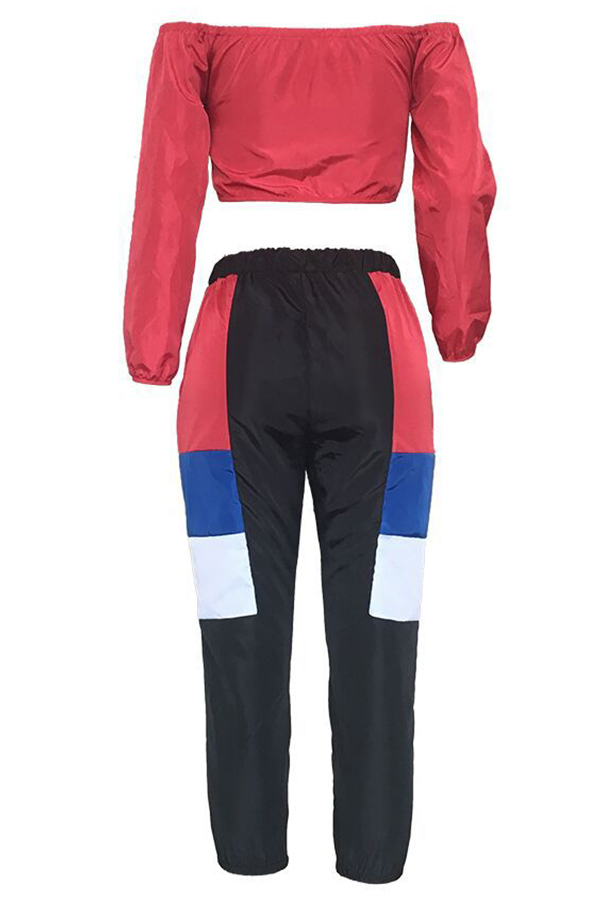 Lovely Fashion Patchwork Multicolor Two-piece Pants Set