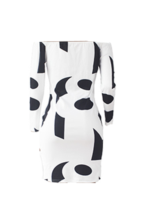 Lovely Casual Geometric Printed Whited Twilled Satin Knee Length Dress