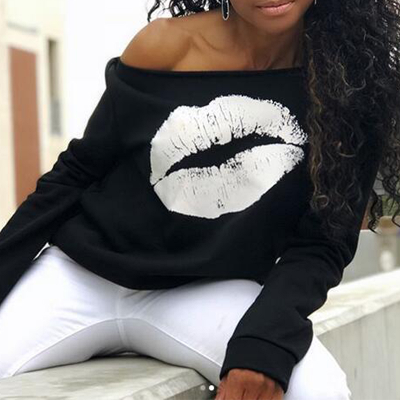 Lovely Leisure Dew Shoulder Lip Printing White Sweatshirt Hoodie