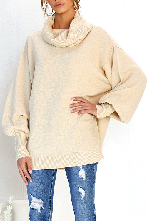 Lovely Casual Puff Sleeves Apricot Knitting Sweaters