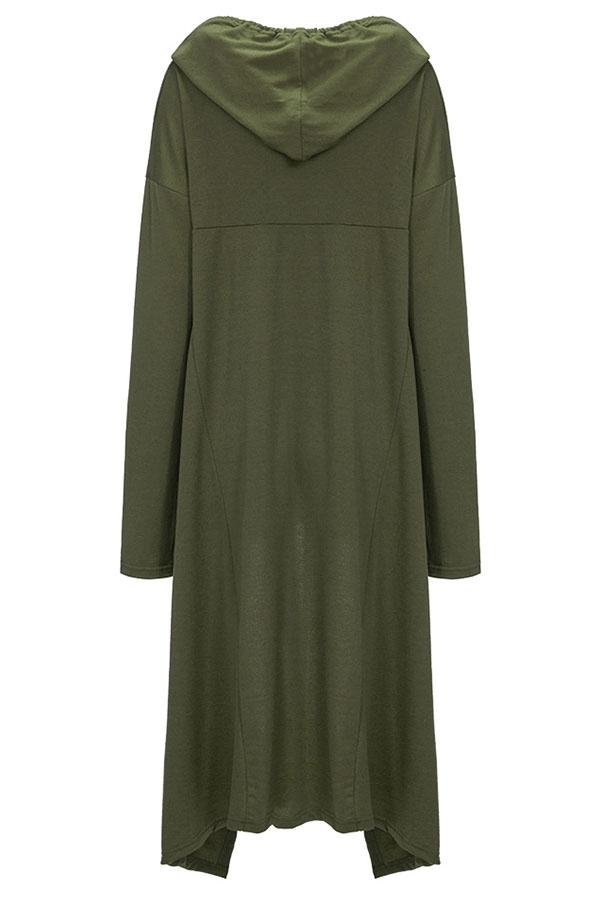Lovely Casual Asymmetrical Drawstring Long Army Green Hoodie