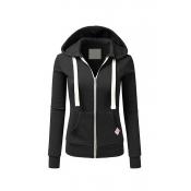 Lovely Casual Zipper Design Black Hoodies