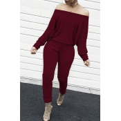 Lovely Casual Dew Shoulder Blending Wine Red One-p