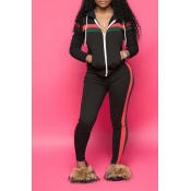 Lovely Casual Hooded Collar Striped Black Two-piece Pants Set