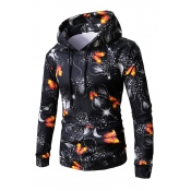 Lovely Casual Printed Black Cotton Hoodies(Batch P