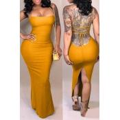 Vestido Largo Hasta El Tobillo Qmilch Amarillo Casual Encantador