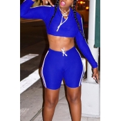Lovely  Casual Hooded Collar Blue Blending Two-piece Shorts Set
