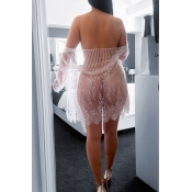 Lovely Sexy See-through Pink Nylon Chemise(Without
