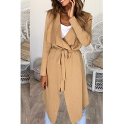 Lovely  Casual Asymmetrical Khaki Cotton Trench Co