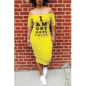 Lovely Euramerican Letters Printed Yellow Twilled Satin Mid Calf Dress