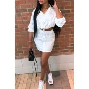 Lovely Casual Turndown Collar Long Sleeves White T