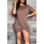 Lovely Casual Asymmetrical Coffee Qmilch Mini Dres