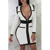 Lovely  Sexy Patchwork Slim White  Mini  Dress