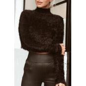 Lovely  Casual Long Sleeves Short Black Knitting S
