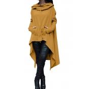 Lovely  Casual Asymmetrical Drawstring Long Yellow Cotton Hoodies