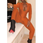 Lovely Trendy V Neck Zipper Design Brown Polyester One-piece Jumpsuits
