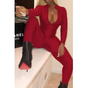 Lovely Trendy V Neck Zipper Design Wine Red Polyester One-piece Jumpsuits