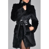 Lovely Casual Lace-up Long Black Faux Fur Coat