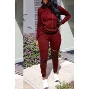 Lovely Casual Hooded Collar Broken Holes Wine Red Two-piece Pants Set