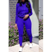 Lovely Casual Hooded Collar Broken Holes Royalblue Blending Two-piece Pants Set