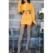 Lovely Casual Hooded Collar Slit Yellow Two-piece