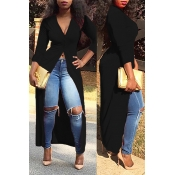 Lovely  Casual Show Hilum Long Black Blouses