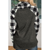 Lovely Fashion Heaps Collar Patchwork Grey Cotton