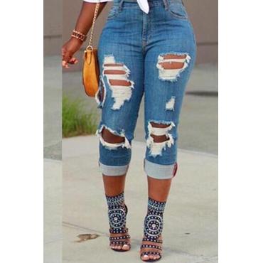 Lovely Street Broken Holes Light Blue Jeans