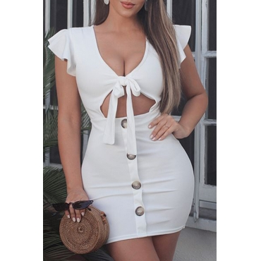 Lovely Fashion Hollowed-out Bow-Tie White Twilled Satin Mini Dress