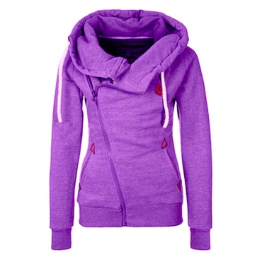 Lovely Casual Drawstring Purple Cotton Hoodies