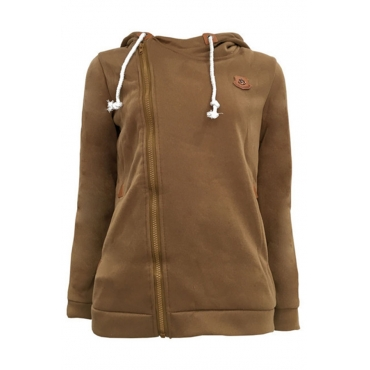 Lovely Casual Drawstring Khaki Cotton Hoodies
