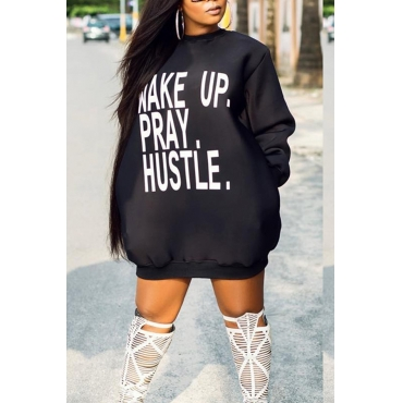Lovely Casual Long Sleeves Letters Printed Black Mini Dress
