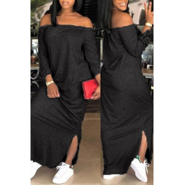 Lovely Casual Dew Shoulder Slit Hem Black Ankle Length Dress