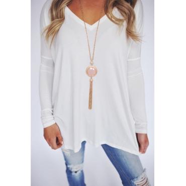 Lovely Casual V Neck Long Sleeves White Cotton Blends T-shirt