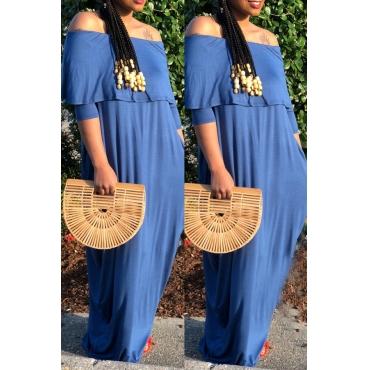 Lovely  Casual Dew Shoulder Loose Blue Floor Length Dress