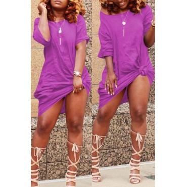 Lovely Casual Knot Design Light Purple Blending Knee Length Dress