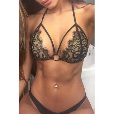 Lovely Sexy Patchwork Black Two-piece Bikini set