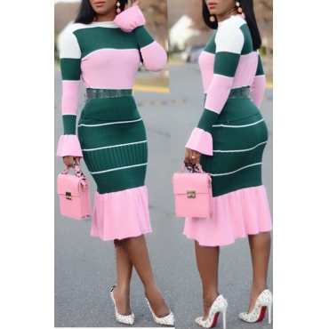 Lovely Casual Patchwork Pink Blending Two-piece Skirt Set
