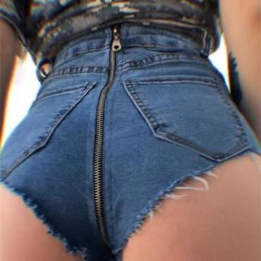 Lovely Sexy Zipper Design Deep Blue Cotton Shorts