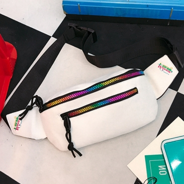Lovely Fashion Zipper Design White Patent Leather Messenger