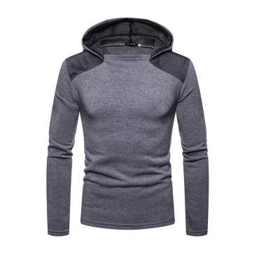 Lovely  Casual Patchwork Light Grey Cotton Hoodies
