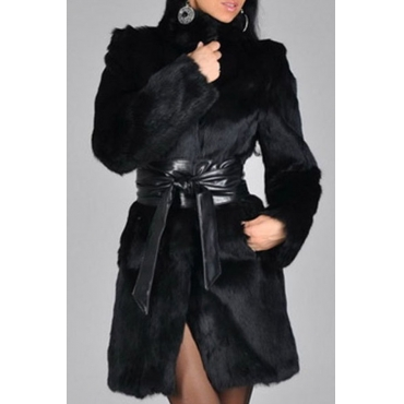 Lovely Stylish Turtleneck Long Sleeves Patchwork Black Faux Fur Coat(With Belt)