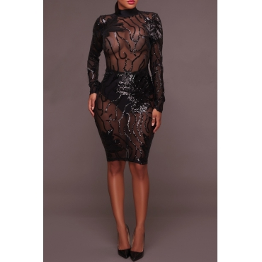 Lovely Sexy See-through  Sequined Decorative Black Gauze Mini  Dress