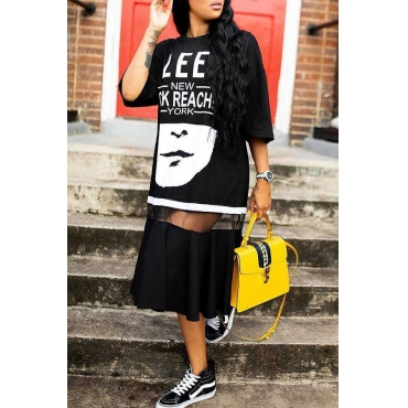 Lovely Casual Patchwork Letters Printed  Black Twilled Satin Mid Calf Dress