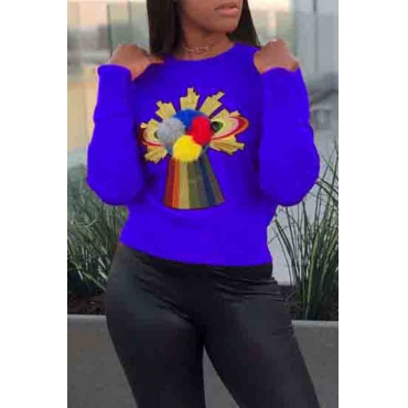 Lovely Casual Plush Ball Decoration Royalblue Cotton Sweaters
