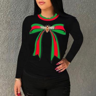 Lovely  Casual Printed Black Blending T-shirt