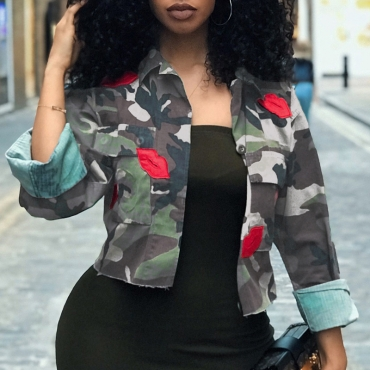 Lovely Casual Camouflage Printed Short Grey Coat