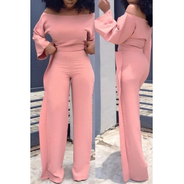 Lovely Casual Dew Shoulder Flounce Pink Twilled Satin Two-piece Pants Set