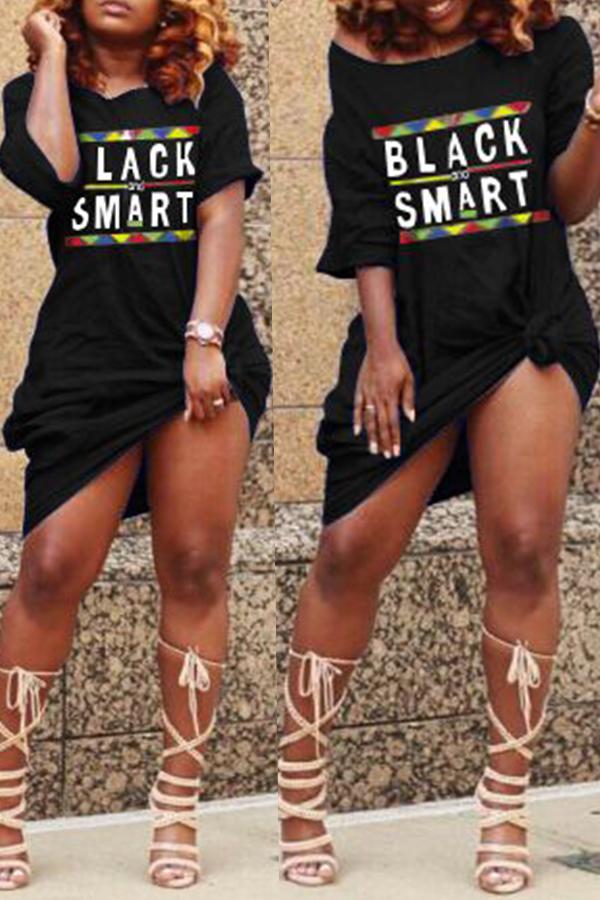 Lovely Euramerican Letters Printed Black Knee Length Dress